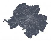 Chemnitz. Detaillierte Vektorkarte des Stadtbezirks Chemnitz. Stadtbild-Plakat Großstadtansicht. Dunkles Land mit weißen Straßen, Straßen und Alleen. Weißer Hintergrund.