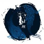 Kézzel rajzolt koi hal. Japán ponty vonalas rajz, ecsetvonás