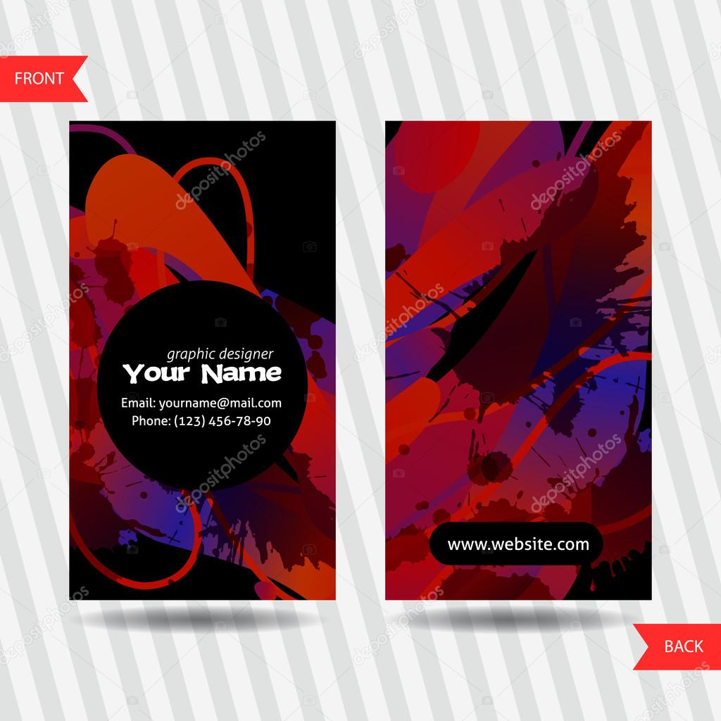 Colorful decorative business cards with free shapes and blots ...
