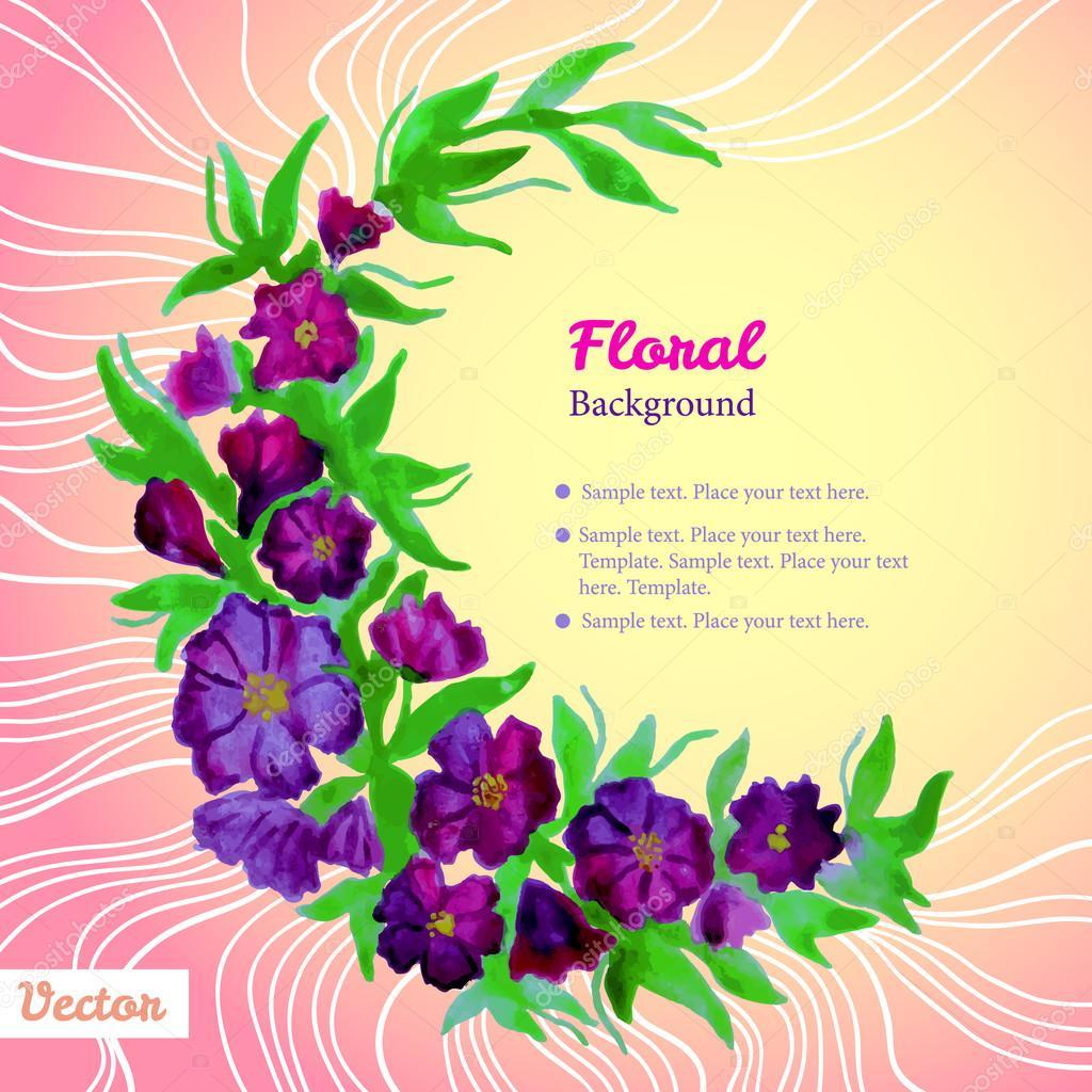marco de acuarela tierna corona con flores de color púrpura — Vector ...