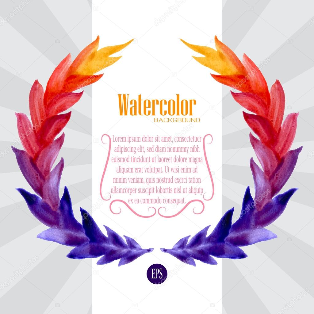 Watercolor template with wreath of colorful leaves