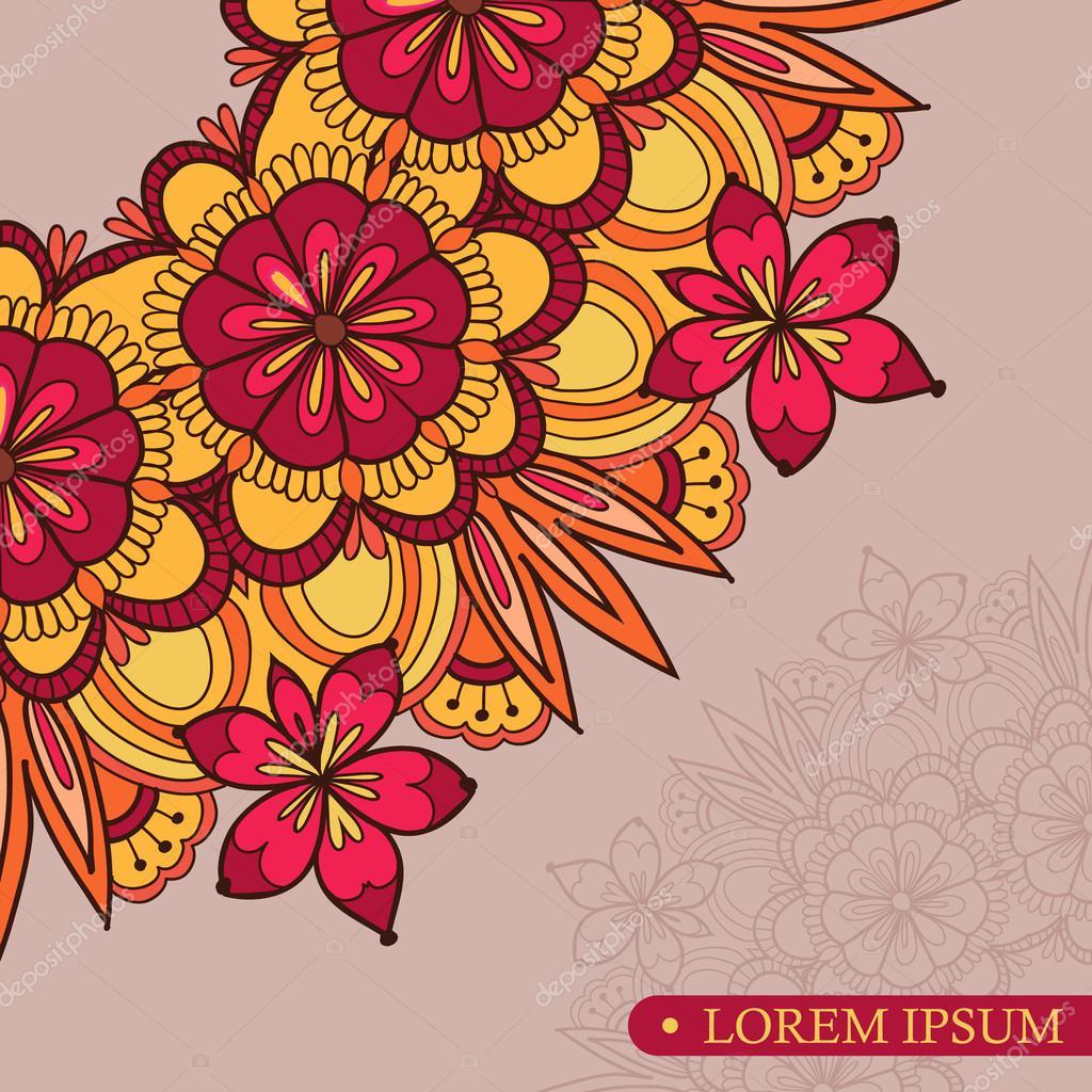 Invitation template vintage flowers lace ornament