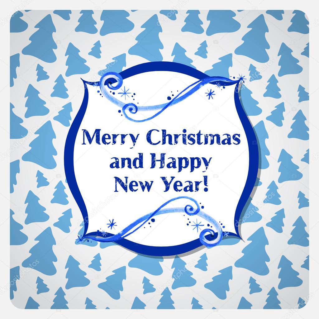 gratulationskort julkort Gratulationskort julkort med akvarell frost — Stock Vektor  gratulationskort julkort