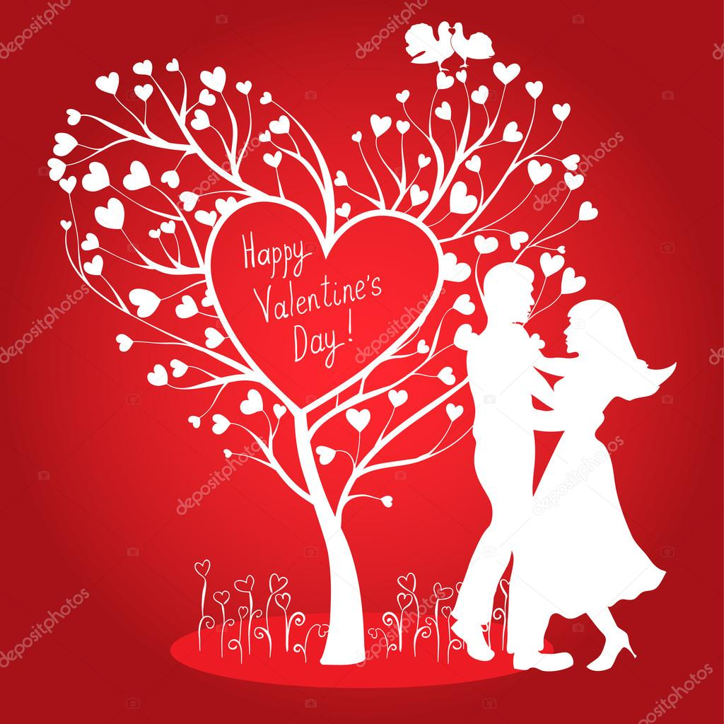 Greating Valentines card with dancing couple