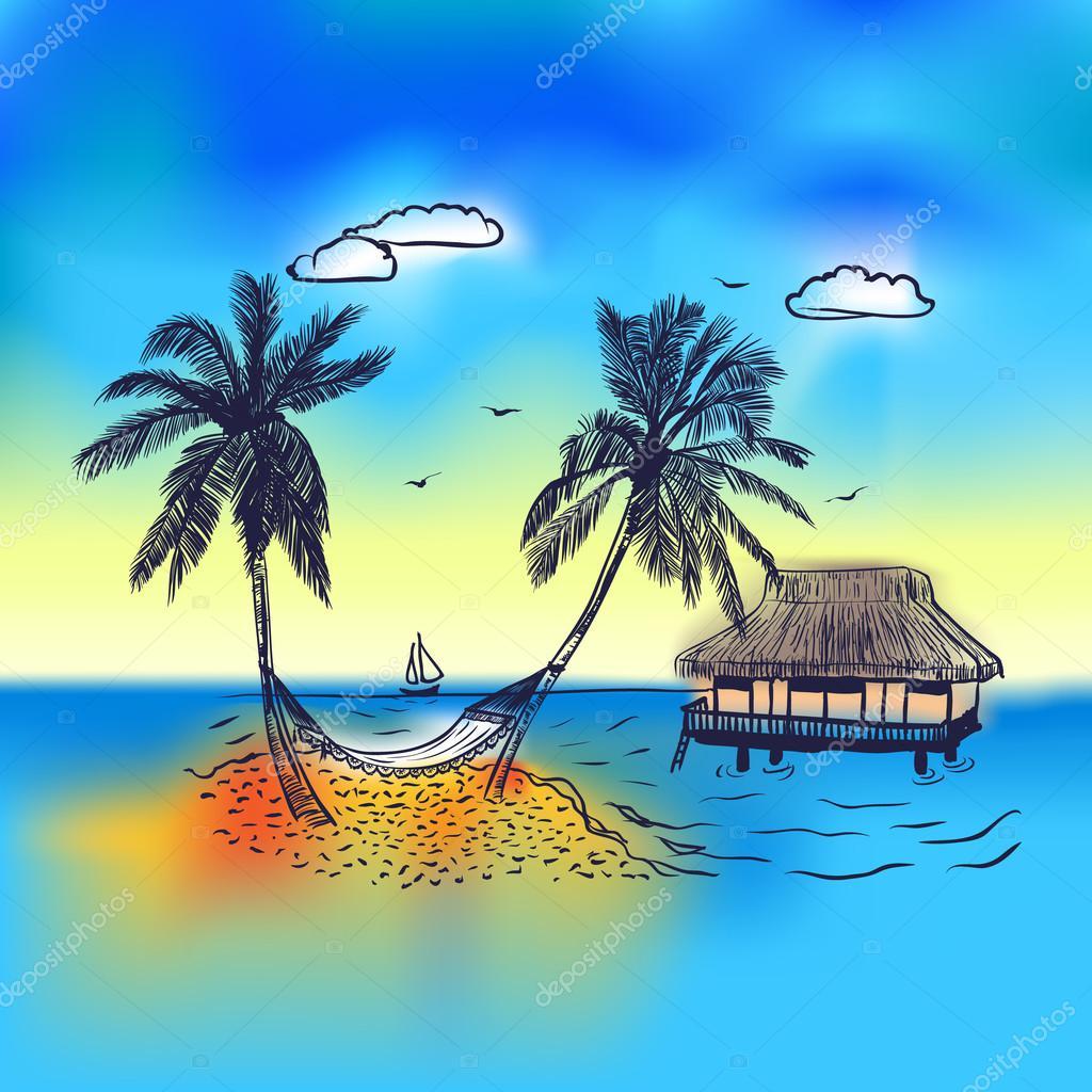 Paradise island with bungalow palm tree