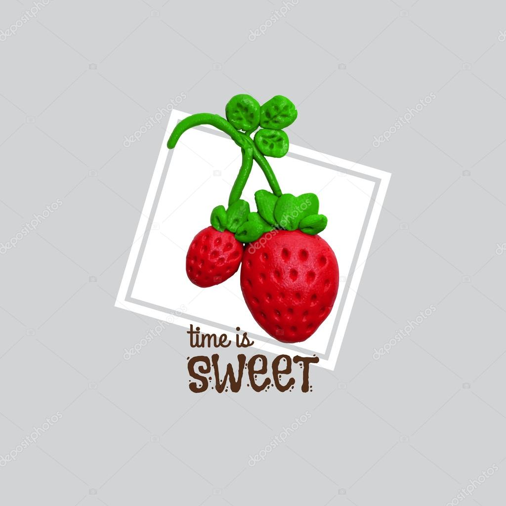 Sweet red strawberry with plasticine