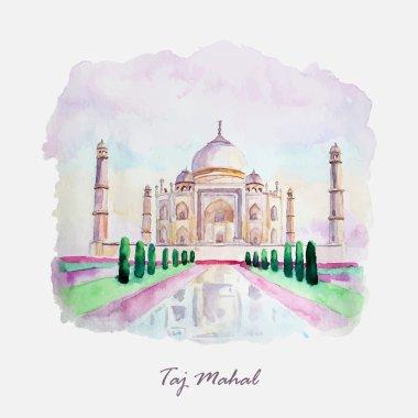 Watercolor Taj Mahal picture. India culture.