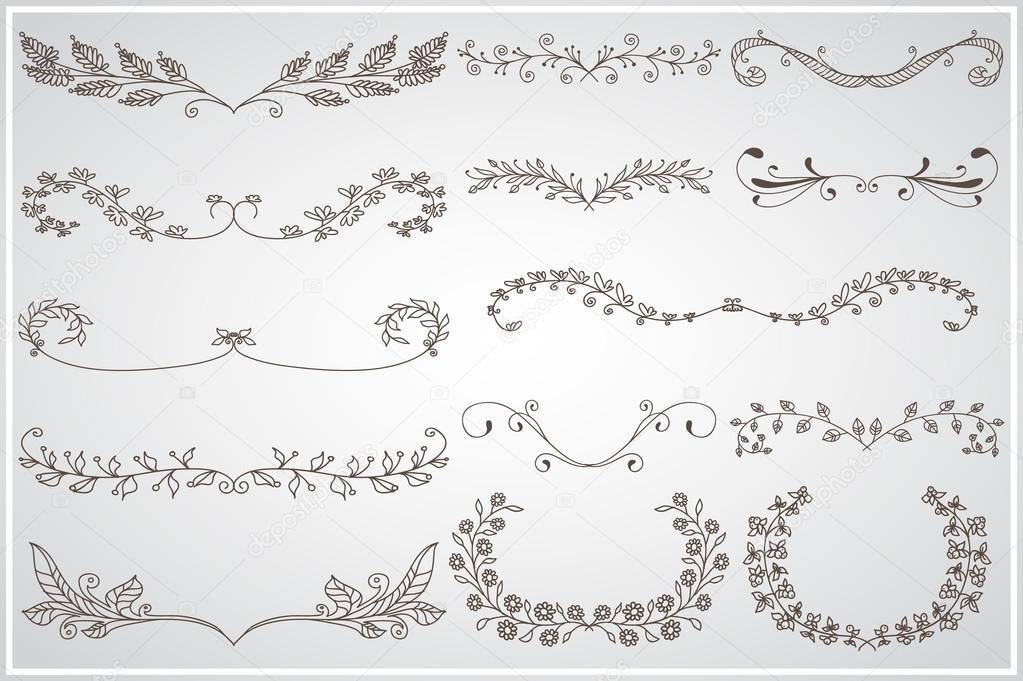 Große Reihe von eleganten kalligraphischen belaubt Grenzen ...