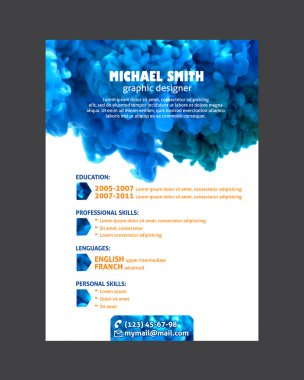Resume template with watercolor swirling ink