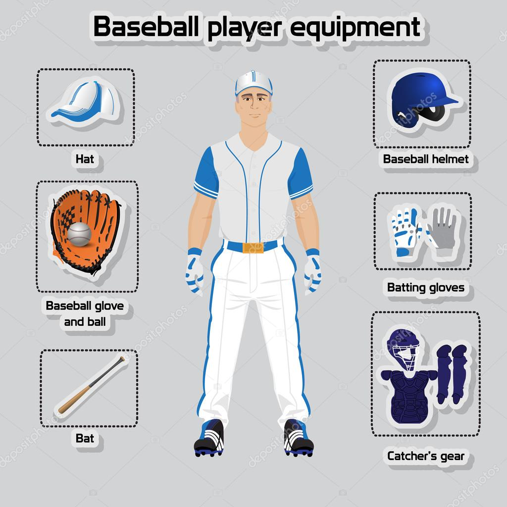 Conjunto de vector de jugador de béisbol uniforme y equipo - jugadores de béisbol  en inglés — Vector de AnaWhite — Vector de ... 8a5d3d97b07