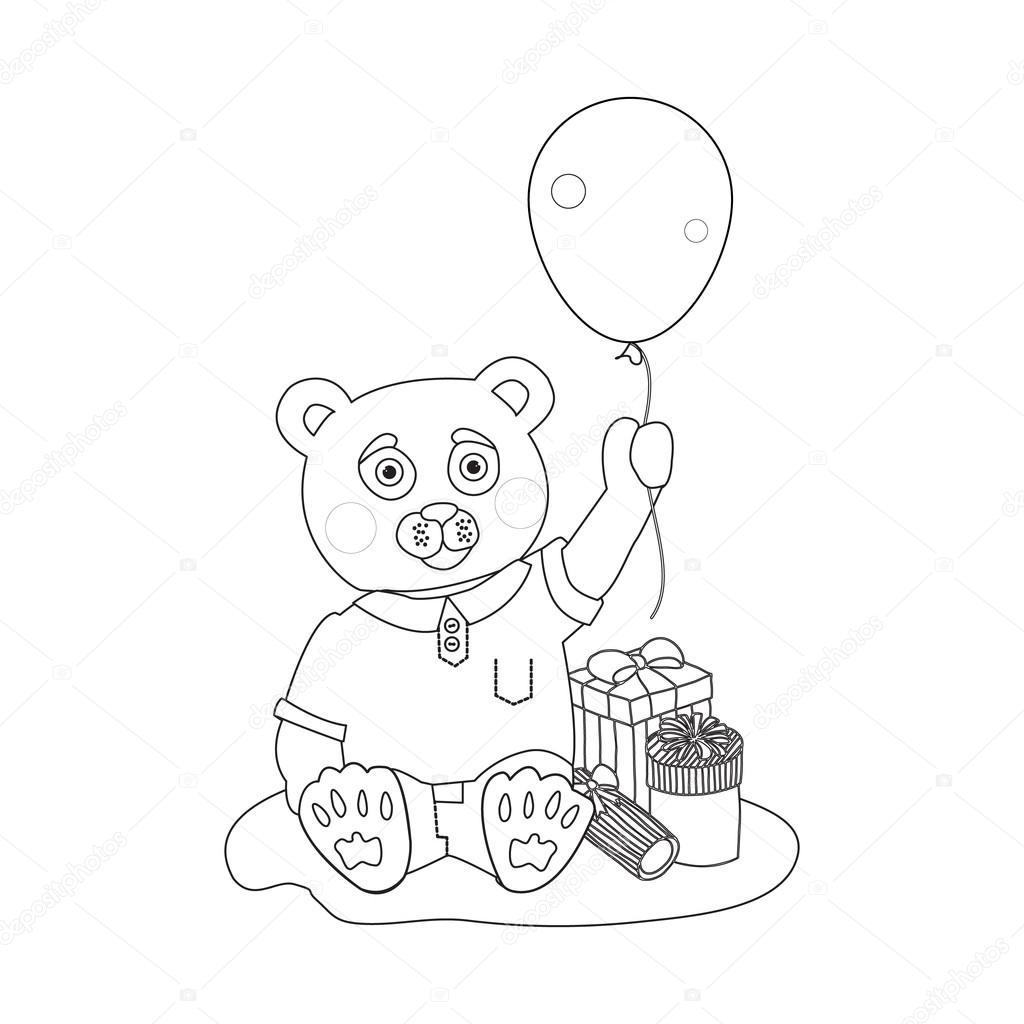 Oyuncak Ayı Hediye Kutuları Ve Balon Ile Boyama Sayfası Stok