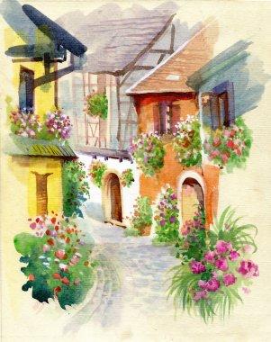 Watercolor rural village