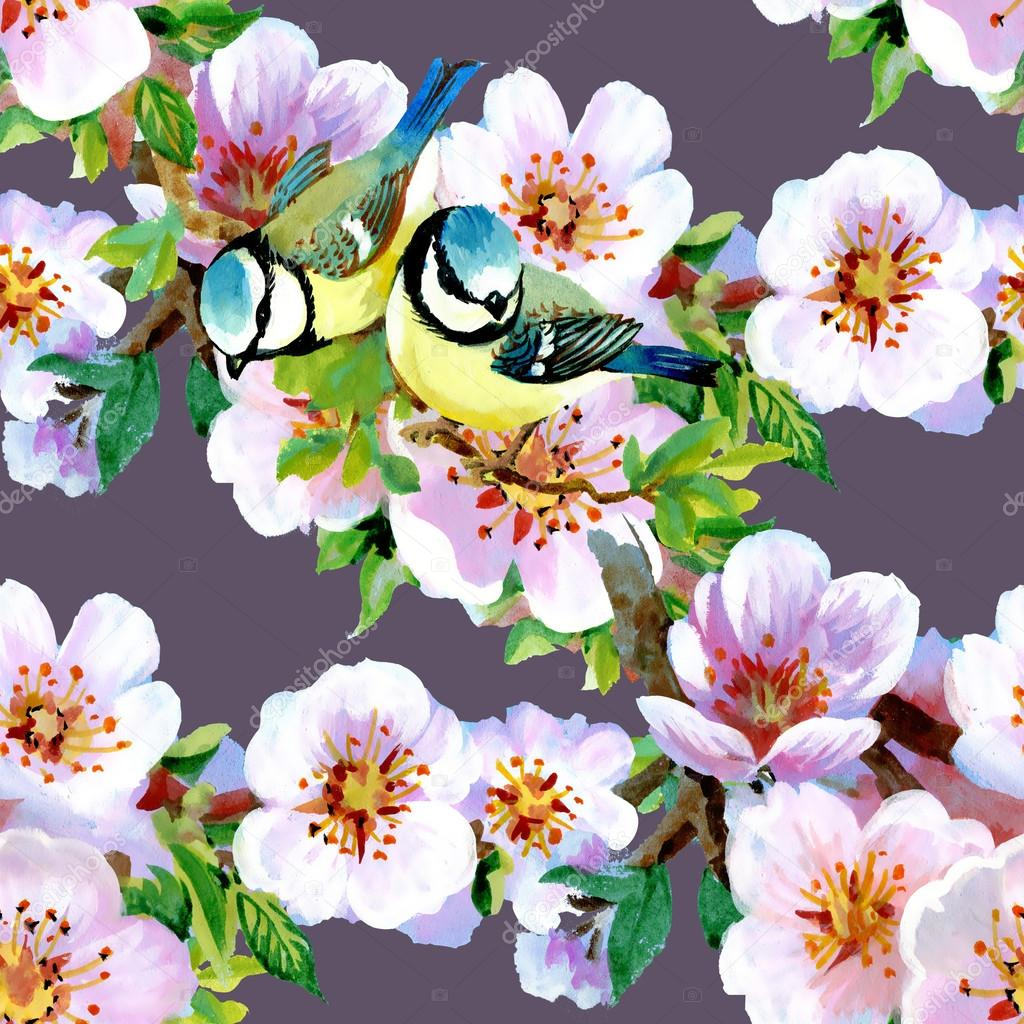 Beautiful Spring Flowers And Birds Pattern Stock Photo C Kostan