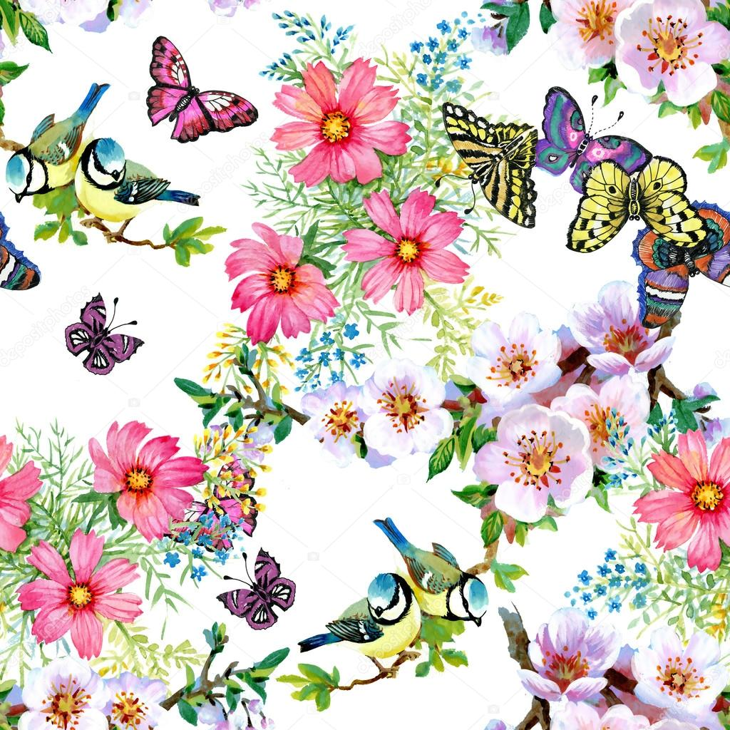 Branches With Green Leaves And Beautiful Flowers Cute Birds Butterflies Watercolor Seamless Pattern Photo By Kostan PROFF