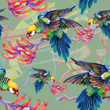 Bright birds on branches