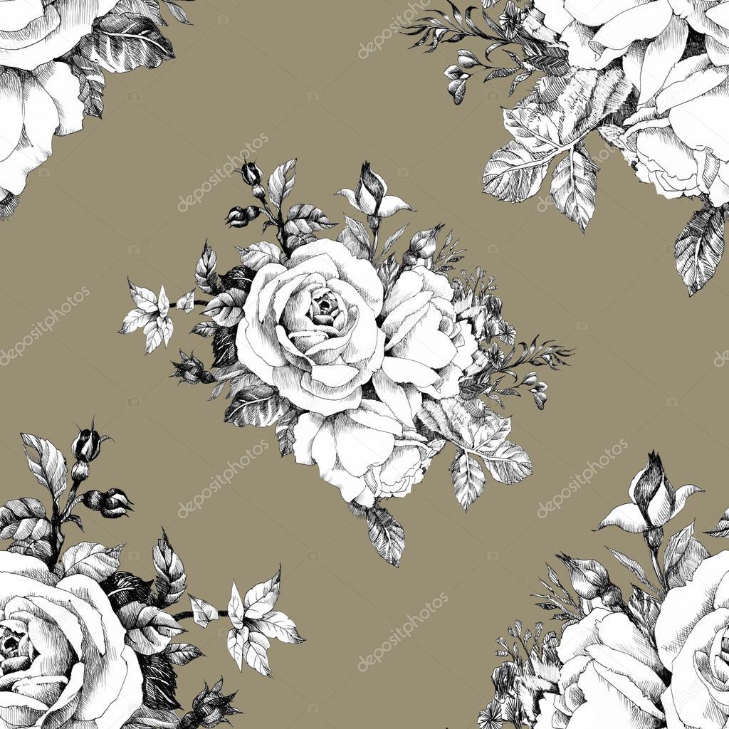 Imágenes Ramos De Rosas Negras Patrones Sin Fisuras Con Rosas