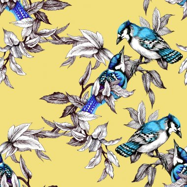 Seamless pattern with birds on branch with leaves