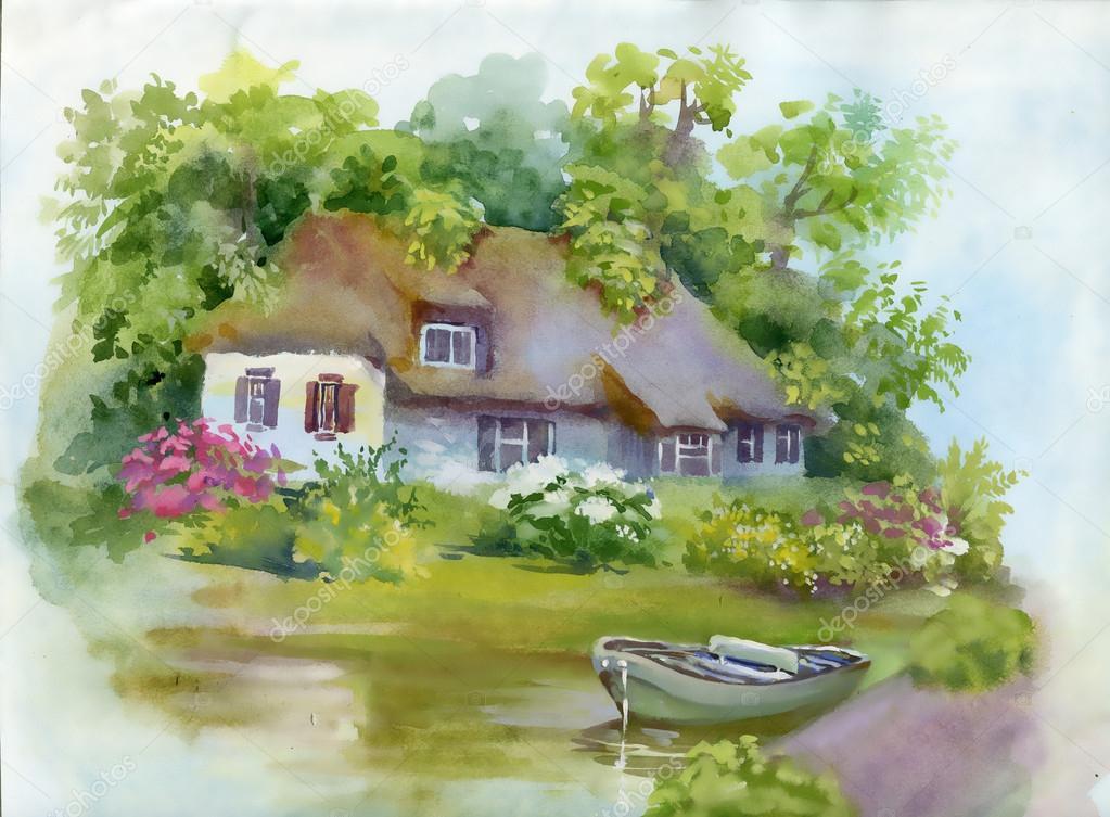 Landhaus im grünen Sommertag — Stockfoto © Kostan-PROFF #120692182