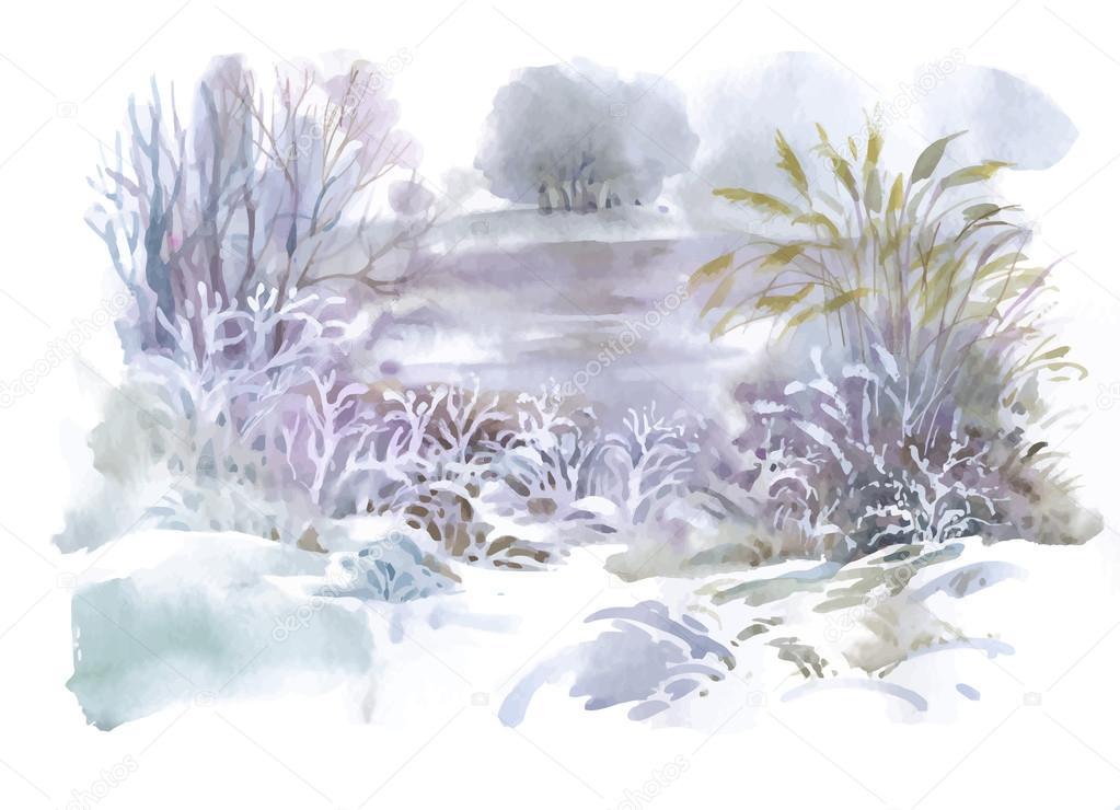 水彩冬の風景イラスト ストックベクター Kostan Proff 120996166