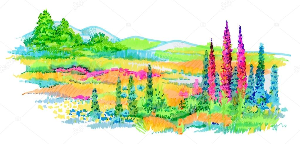 Hand drawn flowers and trees on meadow.