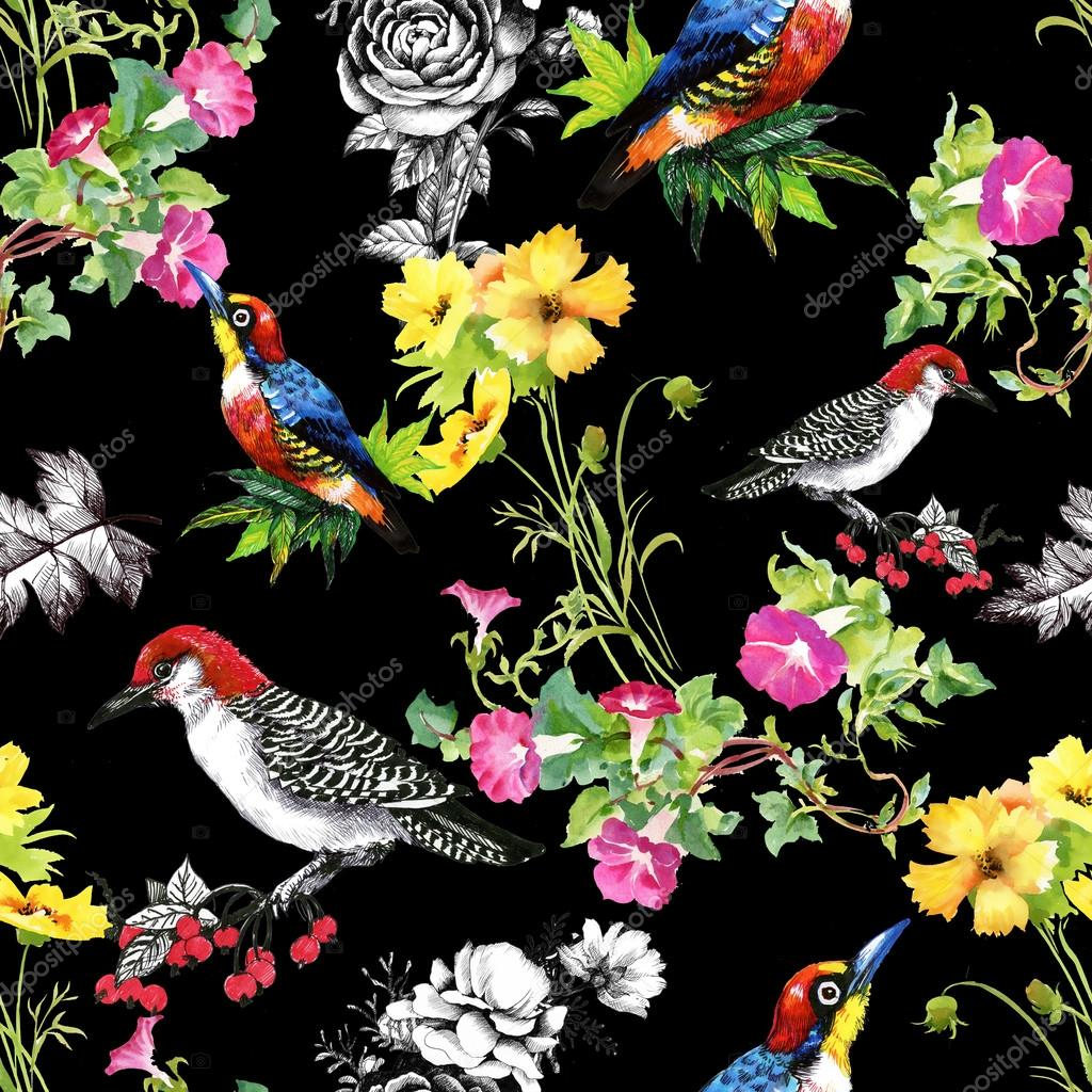 Pattern With Beautiful Flowers And Birds Stock Photo Kostan