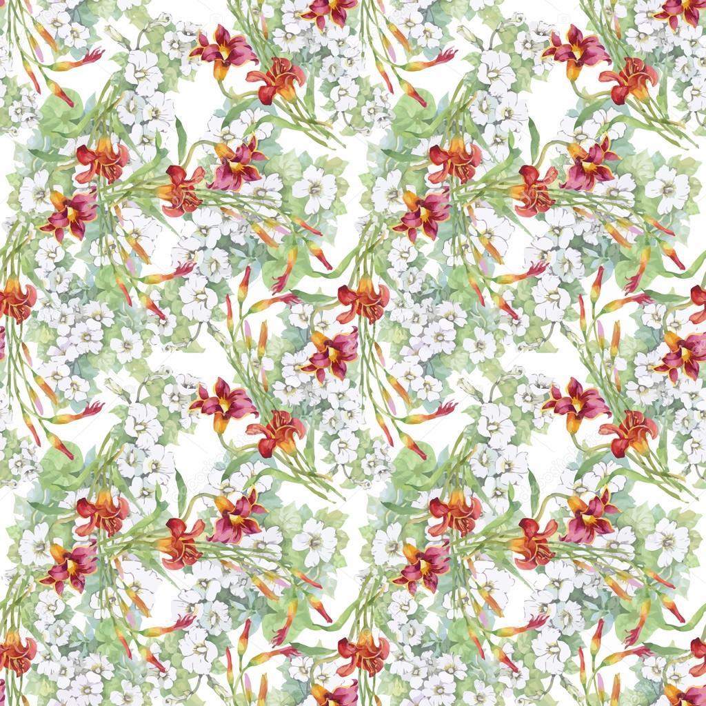 Beautiful Summer Flowers Pattern Stock Vector Kostan Proff