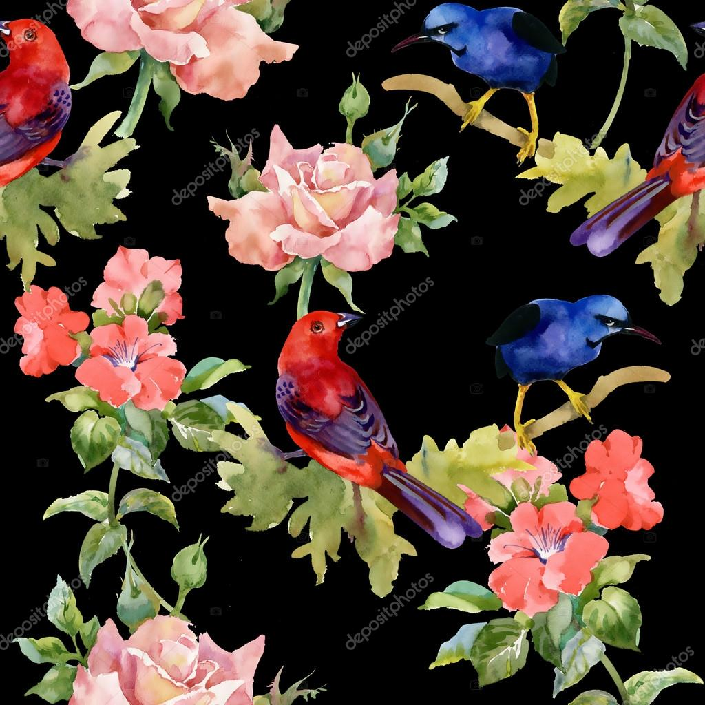 Pattern With Exotic Birds With Beautiful Flowers Stock Photo