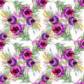 Vzor bezešvé akvarel fialové květy