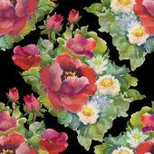 Vzor bezešvé akvarel červené květy