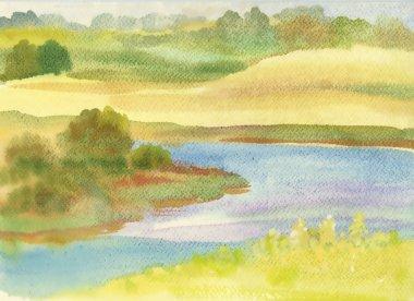 Watercolor river landscape