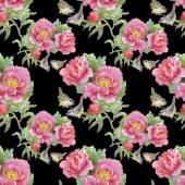 Ptáci a růžové květy