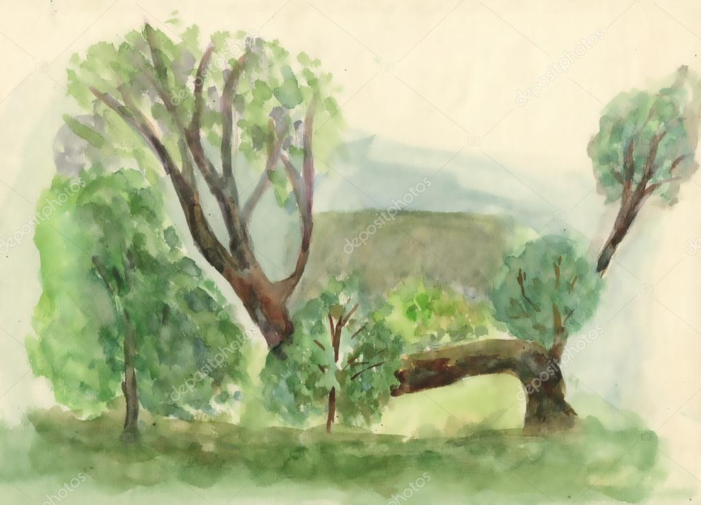 Watercolor  nature landscape