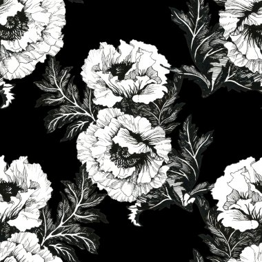 Peony floral Seamless pattern background stock vector