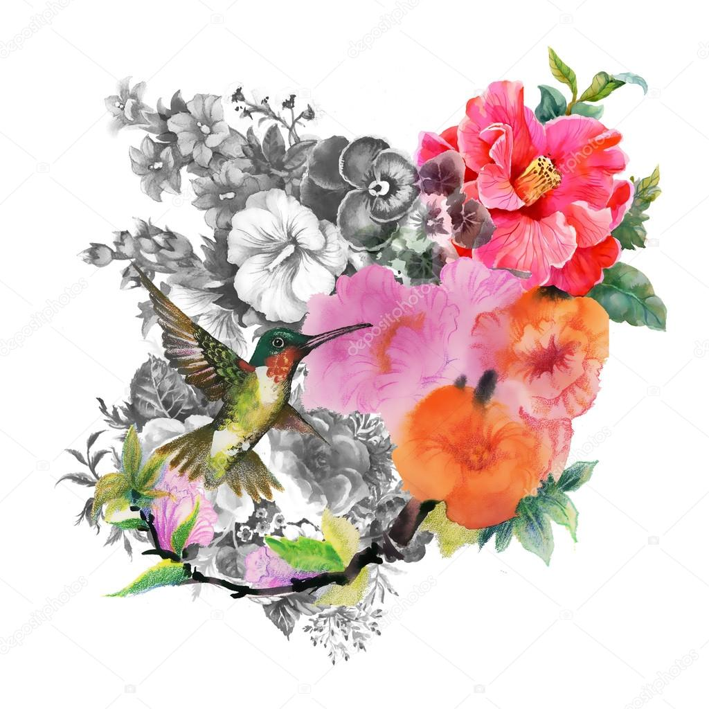 Bright bird and flowers