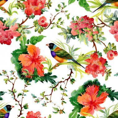 Exotic birds with flowers
