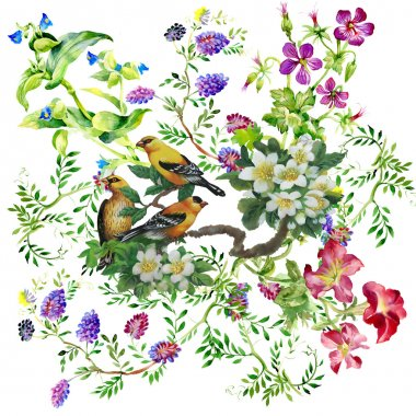 Tropical birds with on blooming tree