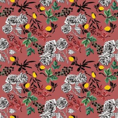 Rose flowers and lemons pattern