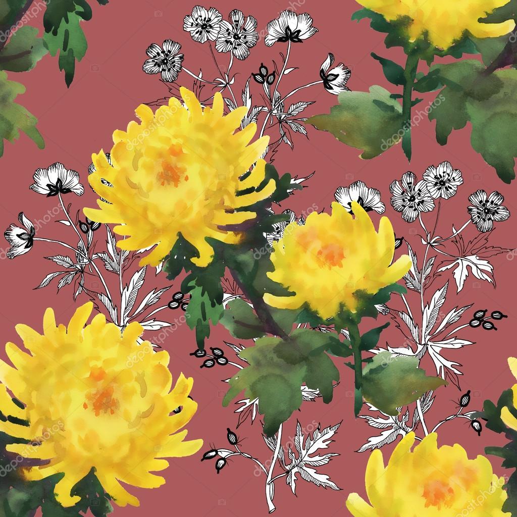 Yellow Chrysanthemum Flowers Pattern Stock Photo Kostan Proff