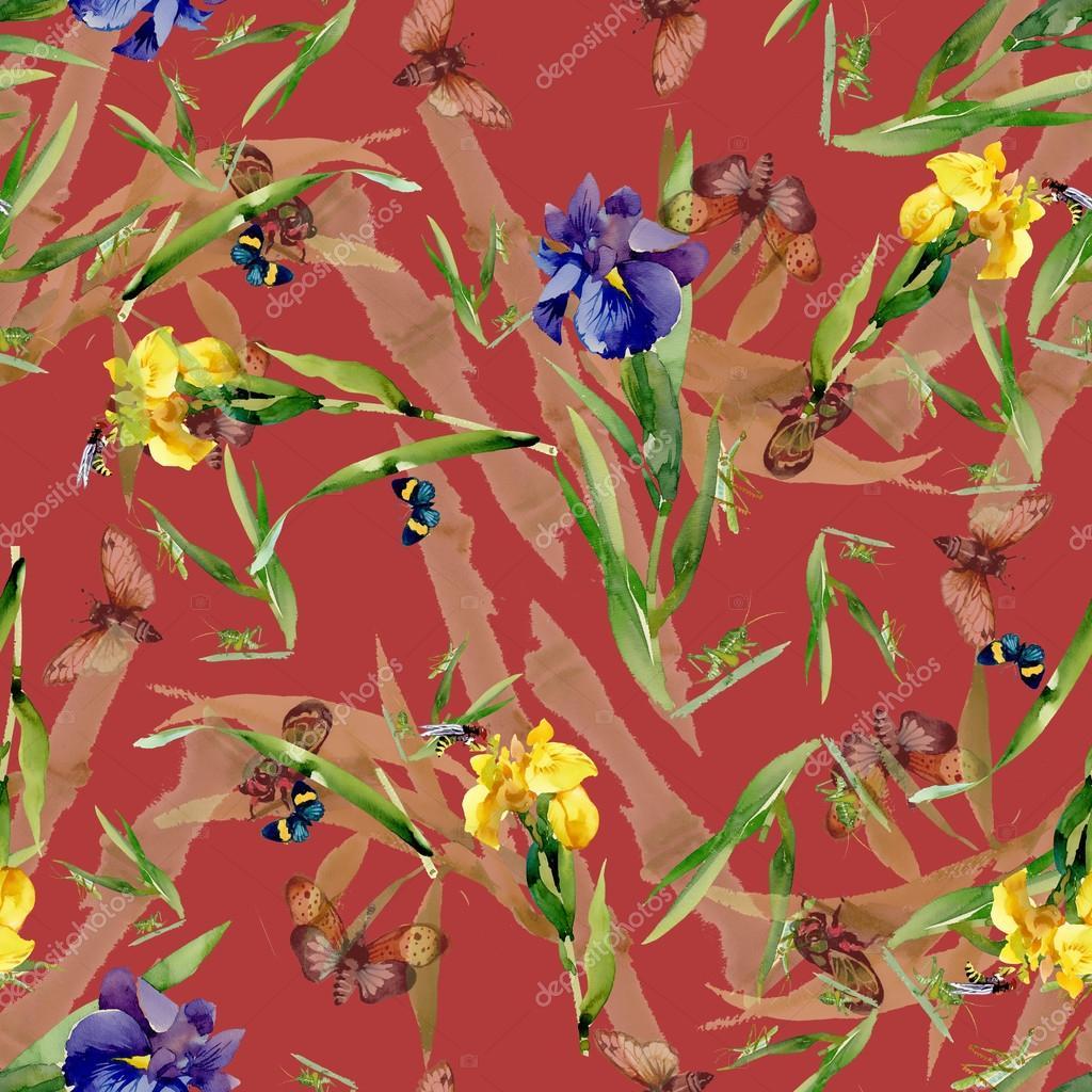 Watercolor iris flowers pattern — Stock Photo © Kostan-PROFF #70346259