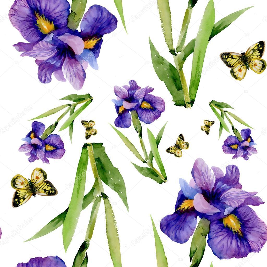 Синий Ирис цветы с бабочками — Стоковое фото © Kostan ...