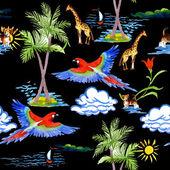 Tropické papoušky a žirafy vzor