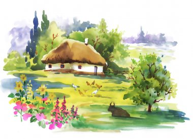 Watercolor rural house