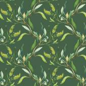 Watercolor green floral pattern
