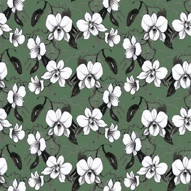 floral seamless orchids pattern