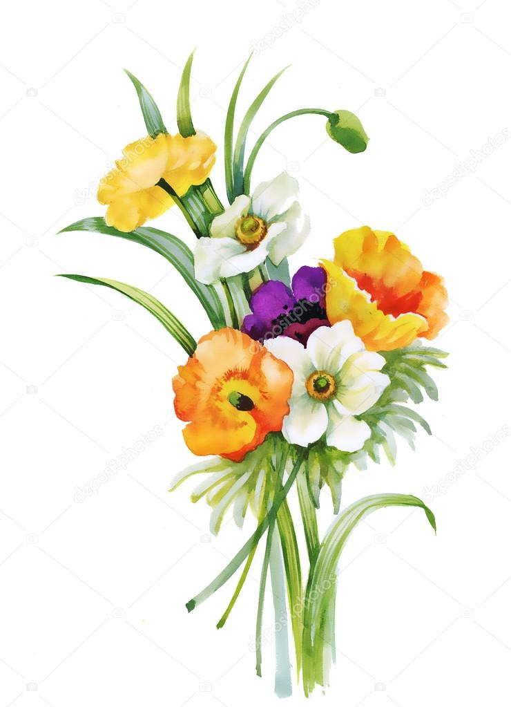 pintura de flores hermosas Fotos de Stock KostanPROFF 77417124