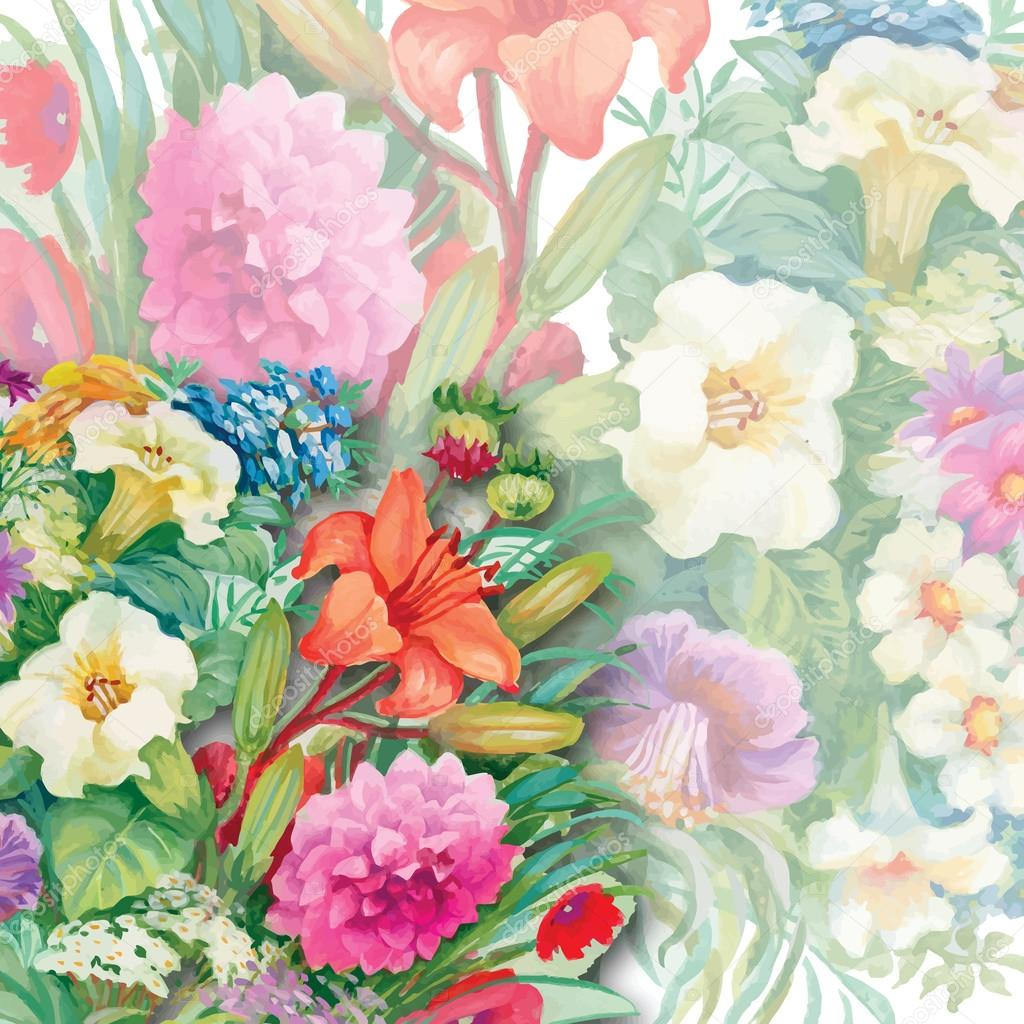 Floral Seamless Watercolor Pattern with Roses and Wildflowers
