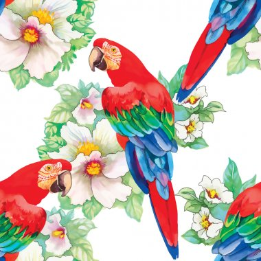 birds in blooming garden