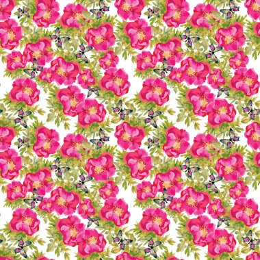 meadow pattern with blooming flowers