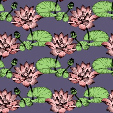 Water lily flowers on pond seamless pattern stock vector