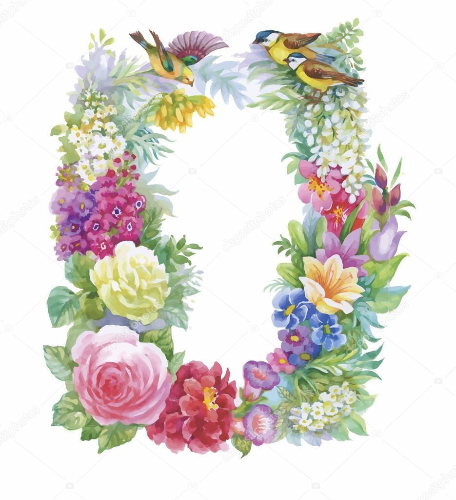 Watercolor wild exotic birds on flowers
